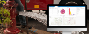 Hydrant flushing and repair with a screenshot of Insights for ArcGIS