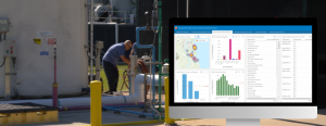 Insights for ArcGIS screenshot with a photo of a St. Johns County treatment plant worker