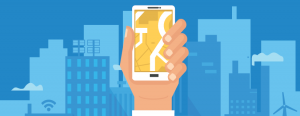 illustration of hand holding a smartphone in front of a cityscape