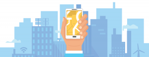 Illustration of hand holding a smartphone against a cityscape