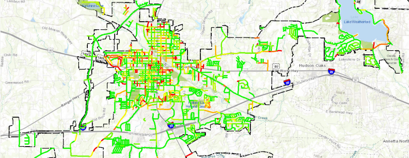A map shows street-by-street condition scores in Weatherford, Texas