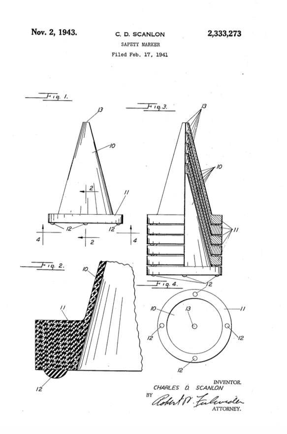 Charles D. Scalnon's traffic cone design