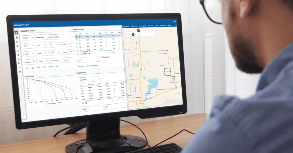 Man at computer looks at Operational Insights Dashboard